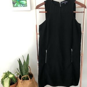 Faux zipper black dress